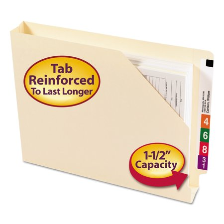Smead End Tab Jackets w/Reinforced Tabs, Letter, 14pt Manila, 50/Box -SMD75740