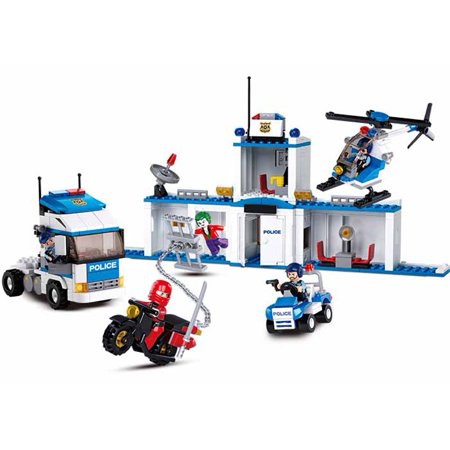 Sluban City Police Series Building Blocks Educational Bricks Toy Kit (572 Piece) - 5 in 1 Police Station Building Set Cop Car & Patrol Vehicles for Kids, Boys and Girls Gifts - Building For Kids