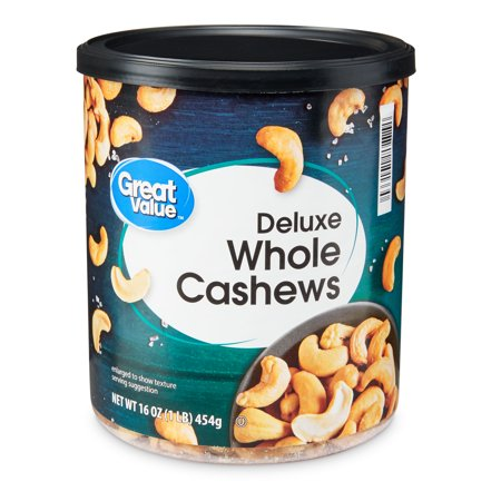 Whole Cashews - Great Value Deluxe Whole Cashews, Salted, 16 Oz