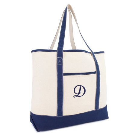 Initial Tote (DALIX Personalized Tote Bag For Women Monogram Initial Open Top Navy Blue D )
