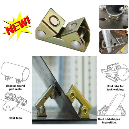 V Type Magnetic Welding Clamps Holder Suspender Fixture Adjustable V Pads Strong Magnetic Jaw Pads
