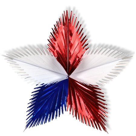 Club Pack of 12 Metallic Red, White and Blue Patriotic Hanging Leaf Starburst Party Decorations (Metallic Hanging)