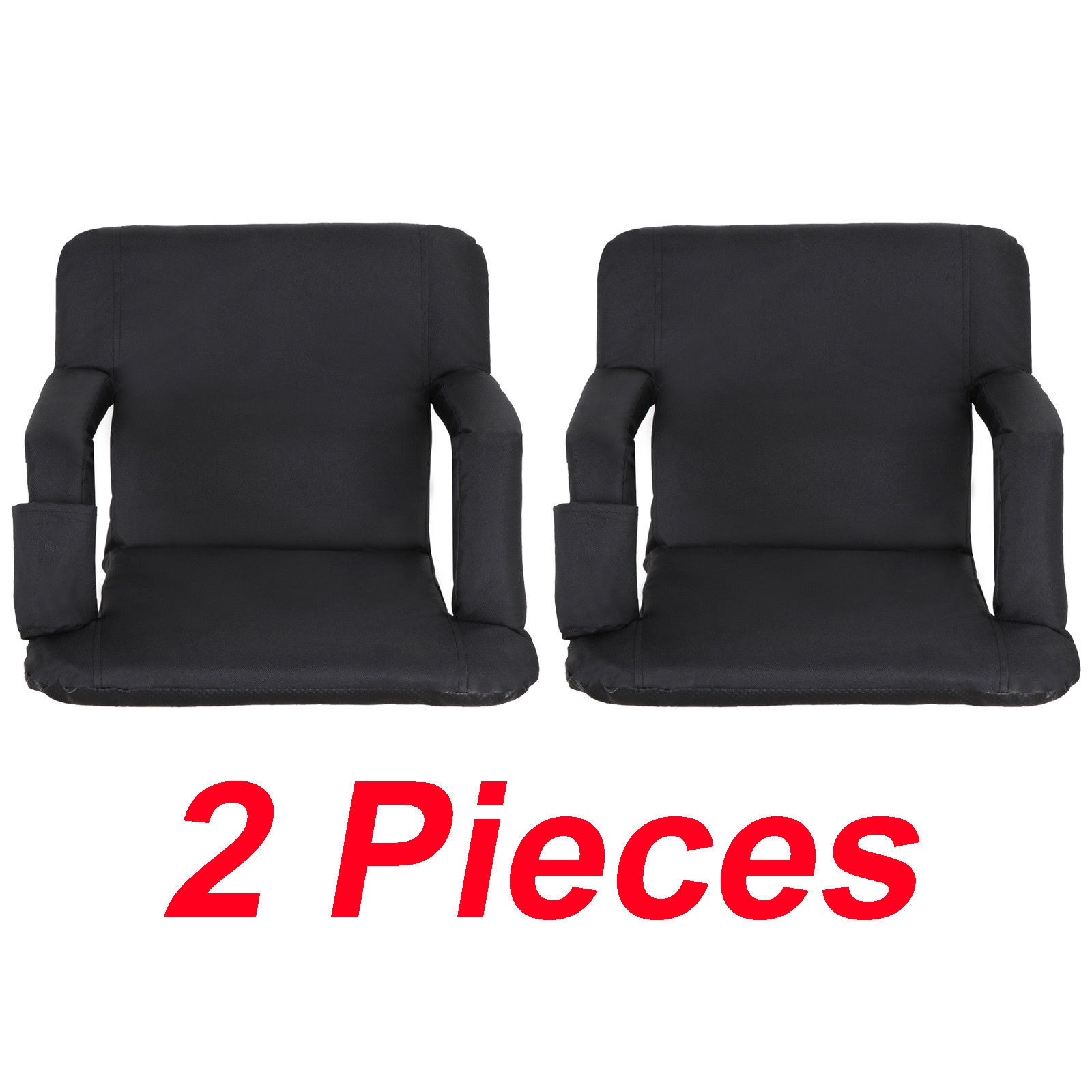 Zeny Set of 2 Portable Stadium Seat Chair, Reclining Seat Black Bleachers 5 Positions by