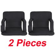 Zeny Set of 2 Portable Stadium Seat Chair, Reclining Seat Black Bleachers 5 Positions