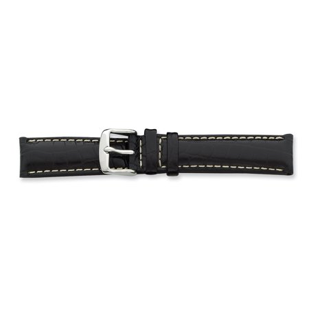 ICE CARATS 19mm Black Croc Wht Stitch Slvr Tone Bkle Watch Band Debeer Paris Fashion Jewelry Ideal Gifts For Women Gift Set From (Croc Yellow Leather)