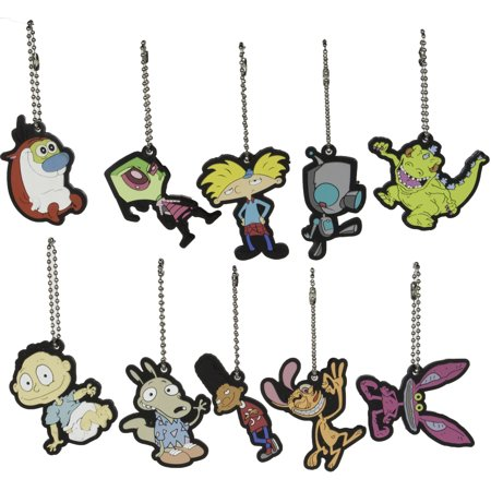 Party Favors - Nickelodeon Nick 90s Key Chains/ Charms set of 10 Pieces - 90s School Supplies