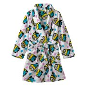 AME Minions Girls Plush White Bathrobe Heart Print Robe Shower Wrap House Coat