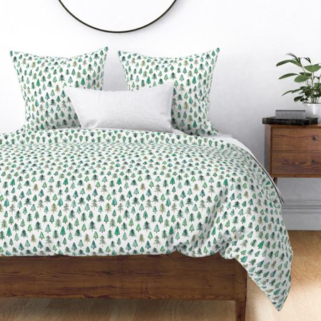 Image of Christmas Tree Christmas Tree Fir Tree Evergreen Sateen Duvet Cover by Roostery