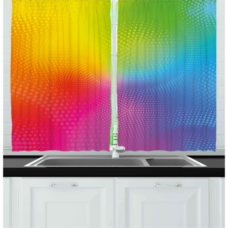 Rainbow Curtains 2 Panels Set, Vibrant Neon Colors Circles Rounds Dots Radiant Composition Iridescent Effect Print, Window Drapes for Living Room Bedroom, 55W X 39L Inches, Multicolor, by Ambesonne