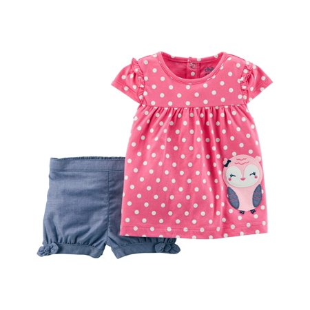 Toddler Girl Short Sleeve Tunic & Shorts, 2pc Outfit Set