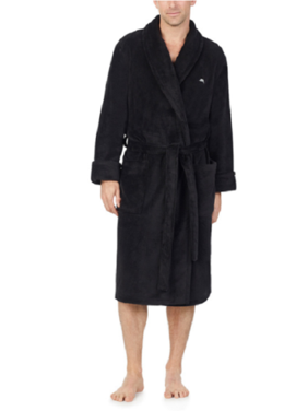 Tommy Bahama Men's Soft Plush Robe, Black Size S/M