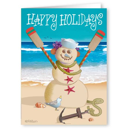 sailor beach snowman nautical theme funny holiday christmas cards 18 cards and 19 envelopes - Nautical Christmas Cards
