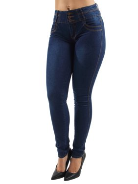 Women's Juniors Colombian Design, Butt Lift, Push Up, Mid Waist, Skinny Jeans