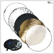 """43"""" 5-in-1 Collapsible Reflector Disc Panel with handles Silver, Gold, White, Black, Translucent in Carry Bag by Loadstone Studio WMLS0009"""