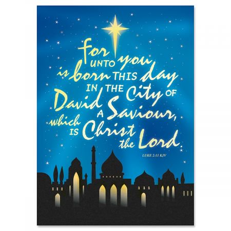 Bethlehem Religious Christmas Cards- Set of 18 Holiday Greeting Cards - Religious Christmas Card Sayings