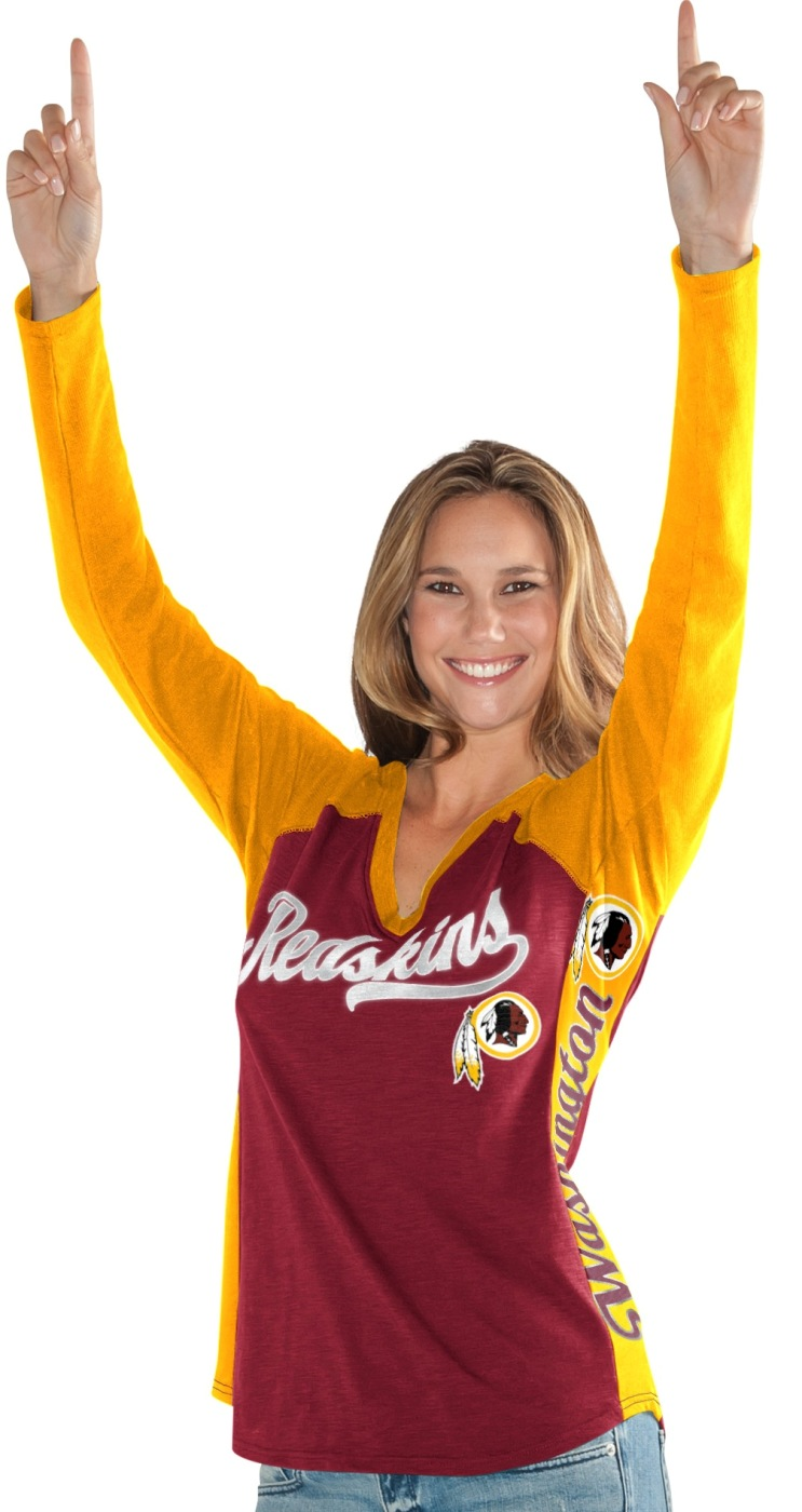 "Washington Redskins Women's G-III NFL ""Stadium"" V-neck Long Sleeve T-shirt by G-III Sports"