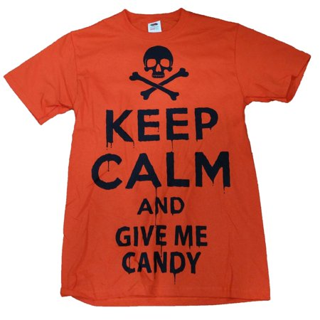 Halloween Mens Orange Keep Calm And Give Me Candy T-Shirt](Orange Halloween Candy)