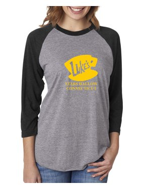 d40d37336 Product Image Luke's Diner Stars Hollow CT Gilmore Girls Womens 3/4 Raglan  Sleeve T-Shirt