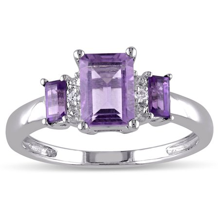 Miadora  10k White Gold Amethyst and Diamond Accent 3-stone Ring - Purple Ugg Womens Diamond