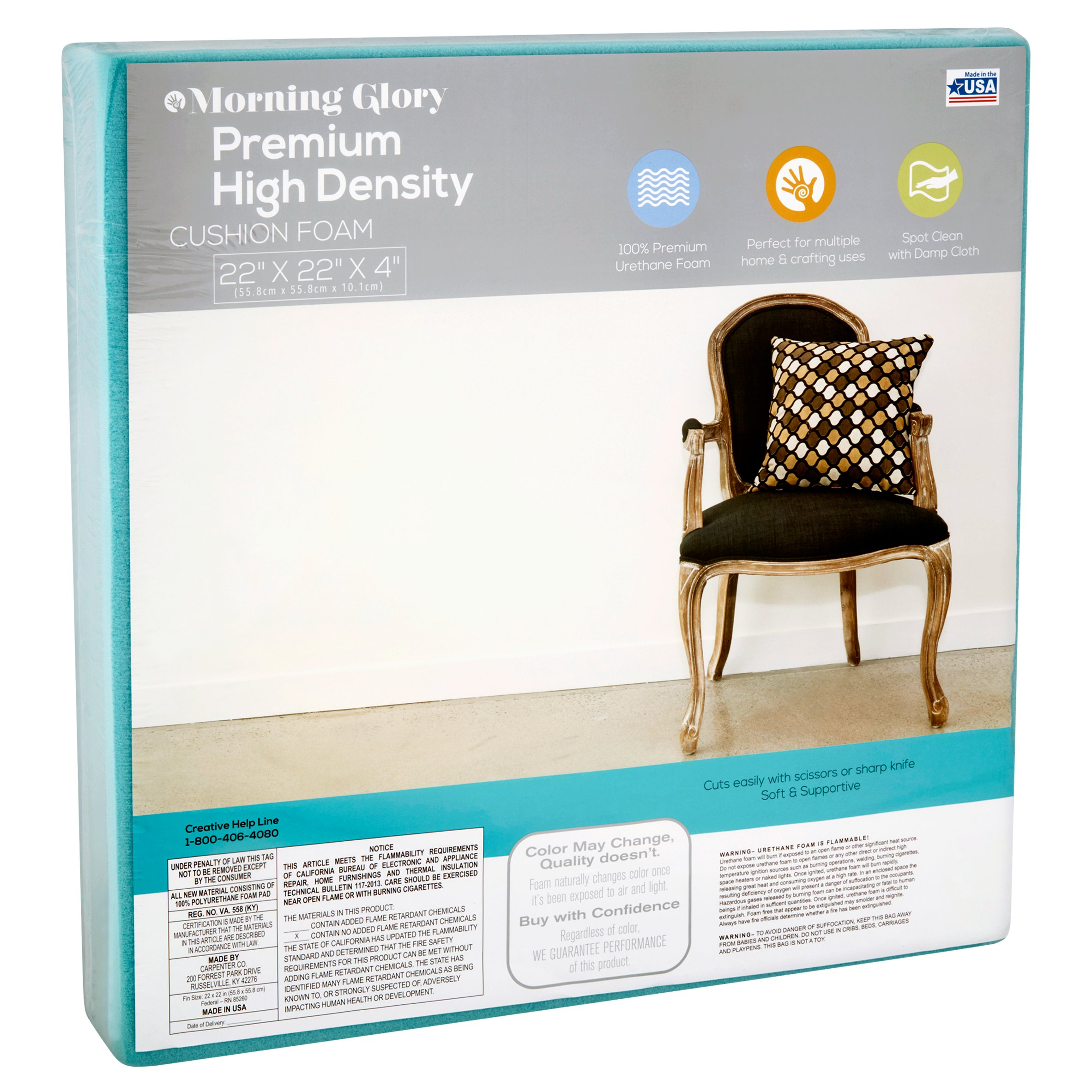 Morning Glory 22 X 22 X 4 Premium High Density Cushion Foam