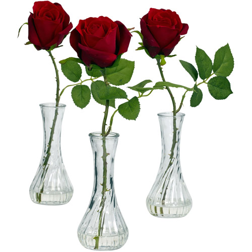 Rose with Bud Vase, Red, 3pc
