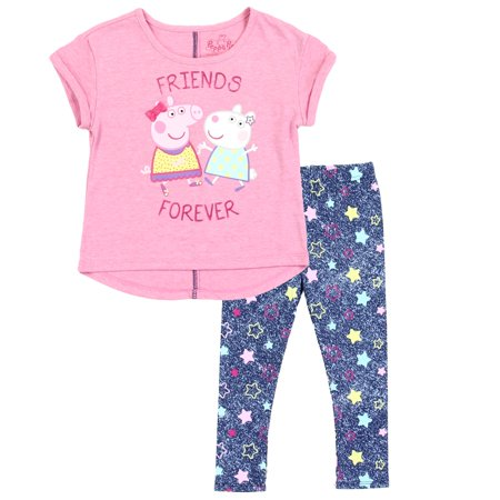 Peppa Pig Toddler Girls' Top & Legging Set - Pink or Grey - Sizes 2T, 3T & 4T](Size 2t 3t)