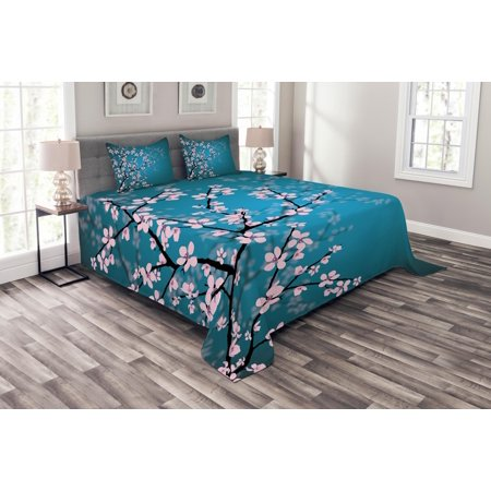 Leaf Spring Set (Teal Bedspread Set, Pink Blossoms Art Leaves and Plants Ombre Spring Japanese Sakura Flowers in Garden Park, Decorative Quilted Coverlet Set with Pillow Shams Included, Teal Pink, by Ambesonne)