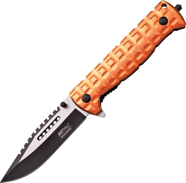 "Mtech MTA906DT Linerlock A/O Folding Knife Two Tone 4"" Sawback Blade/Tan Handle"