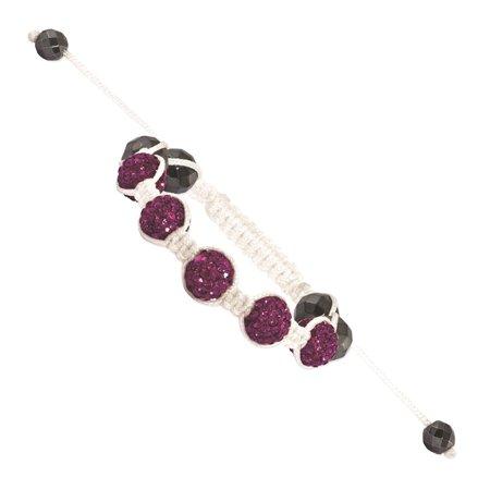 IceCarats 8mm Dark Pink Hematite Beads White Link Cord Petite Bracelet  Adjustable Stretch Wrap  Fashion Jewelry Gift Set For Women Heart