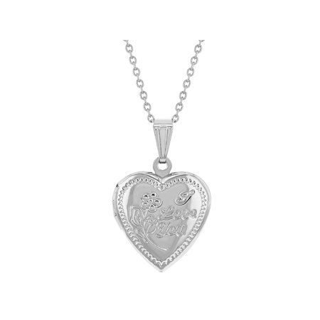 Silver Tone Heart Photo Locket Remembrance Pendant Necklace I Love You 19