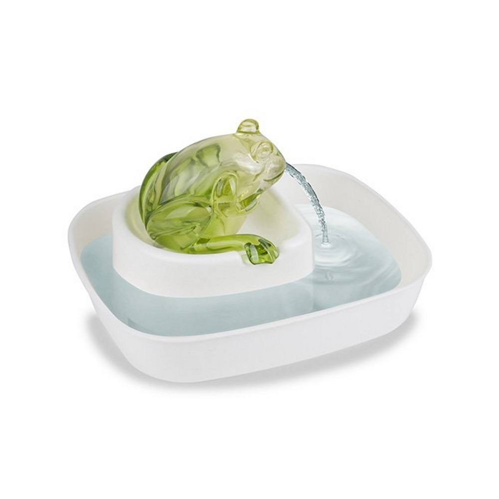 Cats Rule Frog Watering Hole Water Fountain, White and Green by
