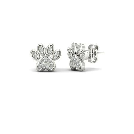Imperial 1 10ct Tdw Diamond 10k White Gold Dog Paw Print Earrings