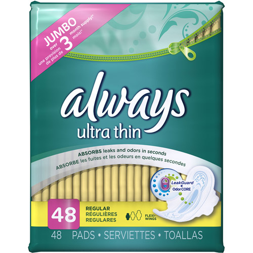Always Ultra Thin Regular with Wings Unscented Pads 48 Count