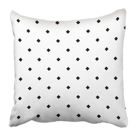 ECCOT Black Mini Rhombuses on White Pattern Design with Diamonds Checks Ethnic Mosaic Pillowcase Pillow Cover 18x18 inch - Mini Pillow