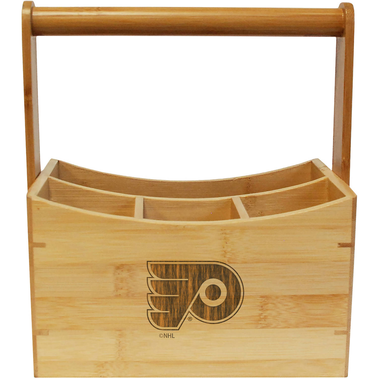 NHL Team Engraved Bamboo Utensil Caddy
