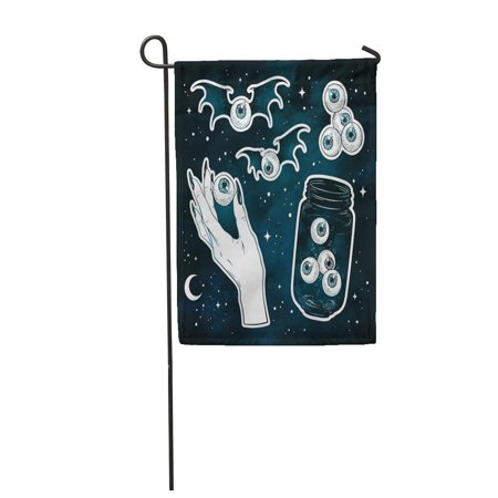 LADDKE Creepy Eyes Stickers Over The Night Blue Sky with Moon and Stars Halloween Garden Flag Decorative Flag House Banner 12x18 inch](Sky Garden Halloween)
