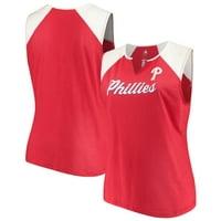Women's Majestic Red/White Philadelphia Phillies Plus Size Shutout Supreme Sleeveless Muscle Tank Top