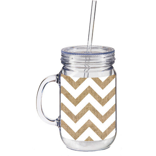 Cypress Home 20 oz. Burlap Chevron Double Walled Mason Jar Insulated Cup with Straw