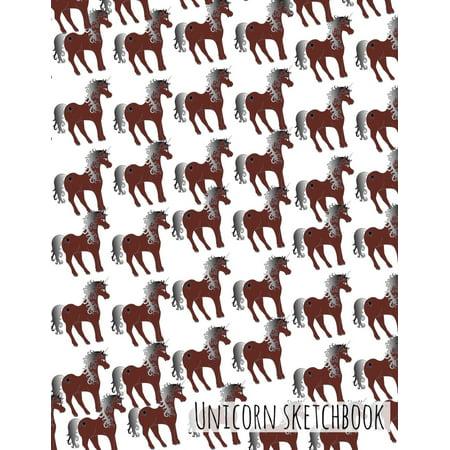 Unicorn Sketchbook - Cute Brown (Unicorn Design): 8.5