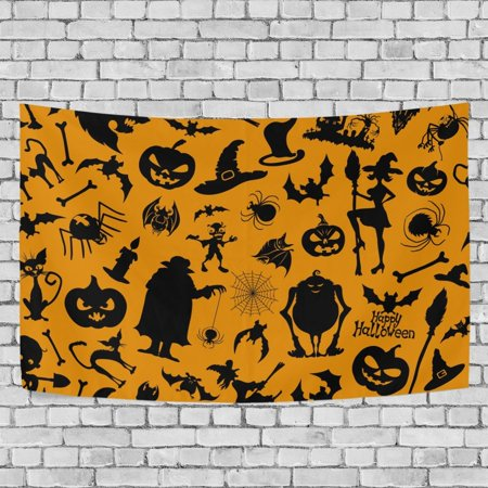 MYPOP Halloween Icons Tapestry Wall Hanging Decoration Home Decor Living Room Dorm 90 x 60 inches - Halloween Dorm Room Decorations