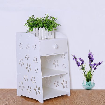 Bedroom Bedside Table Rack Cabinet Organizer Night Stand with Drawer White Home Room - image 7 of 7
