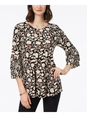 a7203078155 Product Image Charter Club Women s Pleated Floral-Print Top Size M