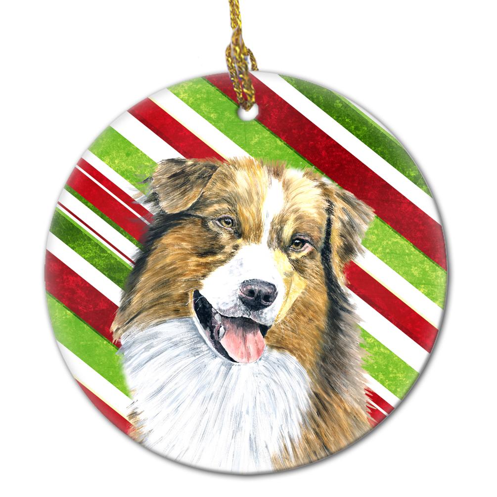 Australian Shepherd Christmas Ornament.Australian Shepherd Candy Cane Holiday Christmas Ceramic Ornament Sc9357