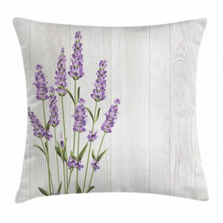 Lavender Throw Pillow Cushion Cover, Aromatic Herbs Bouquet on Rustic Wood Planks Fresh Country, Decorative Square Accent Pillow Case, 18 X 18 Inches, Lavender Olive Green and Pale Grey, by Ambesonne