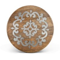"18"" Brown and Gray Hand-Carved Vintage-Inspired Metal Inlay Lazy Susan by Diva At Home"