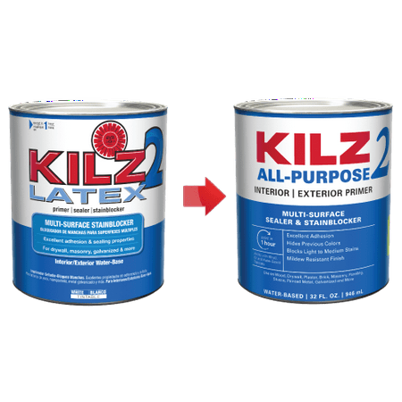 KILZ 2 1-qt. Latex Interior/Exterior Primer - New Look, Same Trusted (Latex Pva Primer)