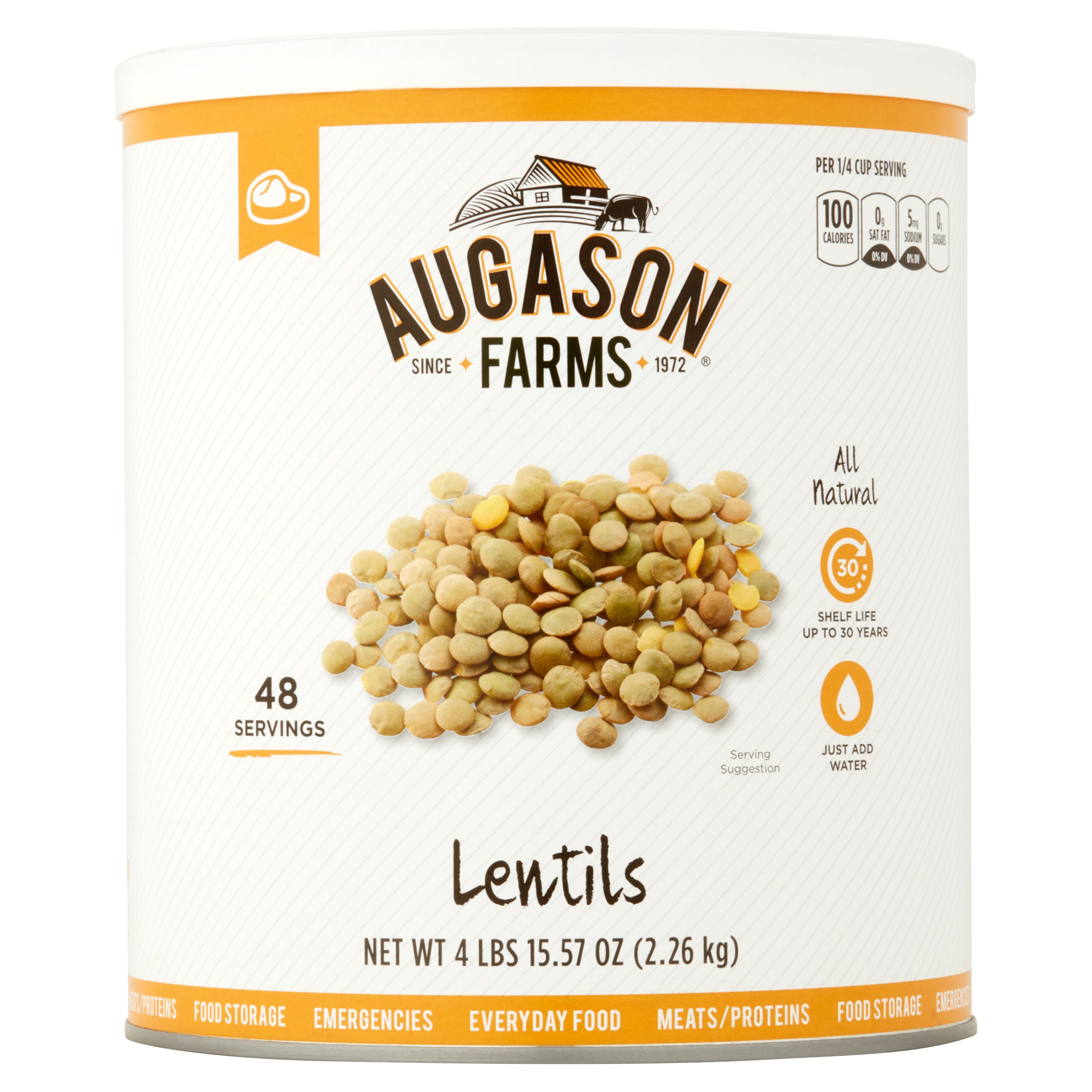 Augason Farms Lentils 80 oz #10 Can by Blue Chip Group
