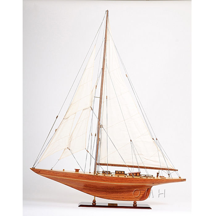 """Shamrock V"" Yacht Wooden Sailboat Model by Old Modern Handicrafts"