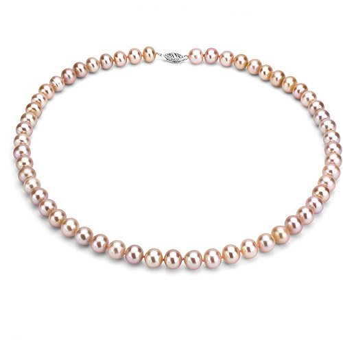 """Ultra-Luster 9-10mm Pink Genuine Cultured Freshwater Pearl 18"""" Necklace and Sterling Silver Filigree Clasp"""