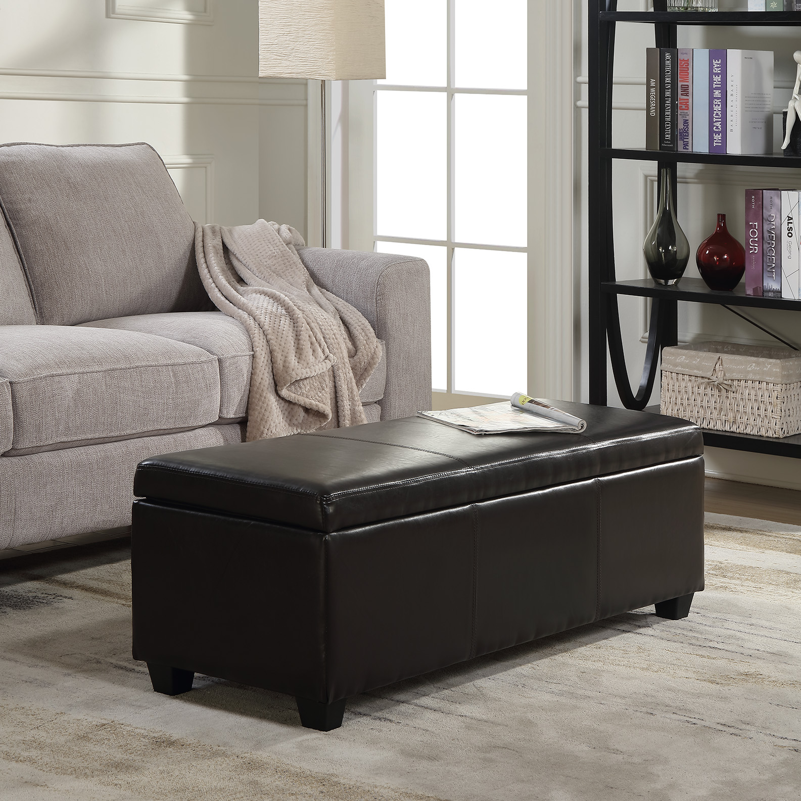 "Belleze 48"" Bench Storage Ottoman Bedroom Luxury Faux Leather Decor (Brown)"